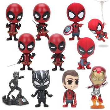 7 Styles Deadpool Spider-man Black Panther Bobble Head Shaking Avengers PVC Action Figure Collection Model Kids Doll Toy Gifts