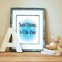 Sweet Dreams Little One Printable Instant Download Nursery Decor Baby Decor Nursery Quote Stars Nursery 8x10 Instant Download