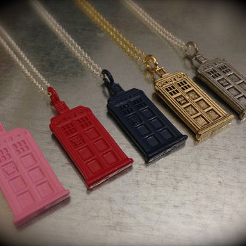 UK Police Phone Booth All the Pretty Colors Interpreted Charmed Necklace