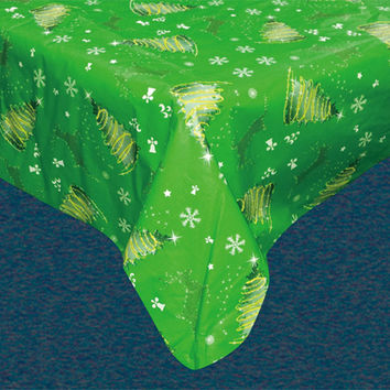 "Santa's Little Helper Collection Holiday Vinyl Tablecloth with Polyester Flannel Backing -  Festive Holiday Rectangle (52"" x 70"")"