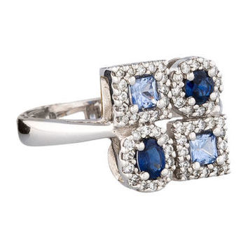 Effy Jewelry 1ctw Sapphire & Diamond Cluster Ring w/ Tags