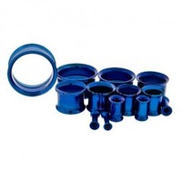 Dark Blue Anodized Steel Double Flare Tunnel Internally Threaded - Sold as A Pair