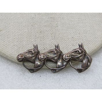 "Sterling Silver Triple Horse Brooch, Thoroughbred, 2.25"", Lang Sterling (SS)"