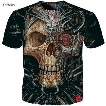 Unique 3D Robot skull Tees Casual Short sleeve Loose O-neck