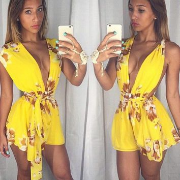 Fashion Print Drawstring Deep V Sleeveless Chiffon Romper Jumpsuit Shorts