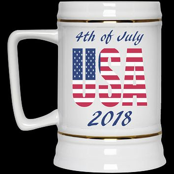 4th of JULY BEER MUG USA Custom July 4th Beer Gift White Ceramic Beer Stein