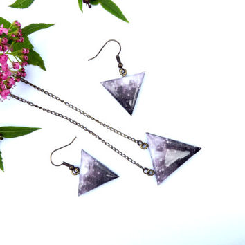 Jewelry set, Necklace earrings, Galaxy set, Galaxy jewelry, Galaxy pendant, Grey necklace, Grey earrings, Triangle, Geometric, Birthday gift