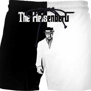 Movie character themed black and white men swim shorts, cool TV series pants