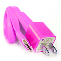 Hot Pink iPhone 4/4s Charger - 1m/3ft iPhone 4/4s Cable and Plug