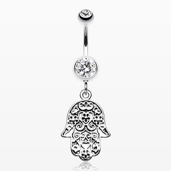 Floral Filigree Hamsa Belly Button Ring