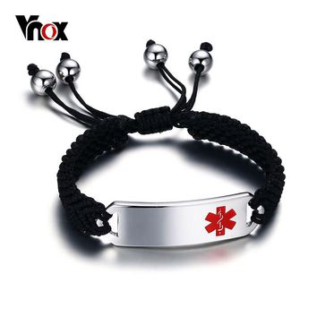 Vnox Medical Braided Charm Bracelets ID for Men Stainless Steel Emergency Alert Jewelry Adjustable Length Free Engraving