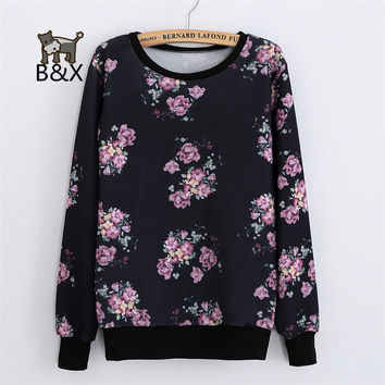 2017 New Fashion Women Long sleeve Weeds flower Printed thin Sweatshirt Hoody Women Hoodies pullover for Woman