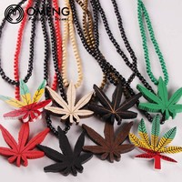 The Dopest Wood Cannabis Leaf Beaded Necklace - Weed Necklace
