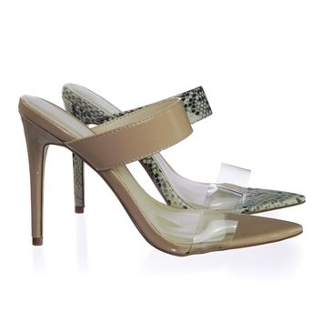 Exception01 Pointed Toe Mule Sandal Slipper w Clear Transparent Lucite Strap