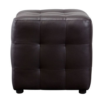 Bonded Leather Tufted Cube Accent Ottoman Mocca
