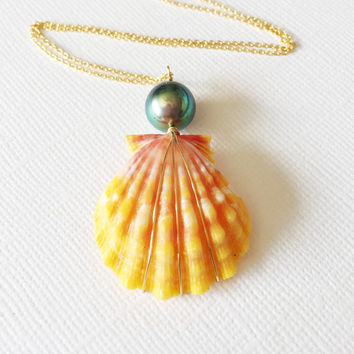 Sunrise shell necklace- sunrise shell with Tahitian pearl - orange sunrise shell necklace - beach jewelry (N160)