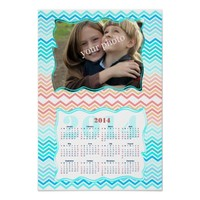 Aqua and Sunny Beach Chevron Photo Calendar 2014