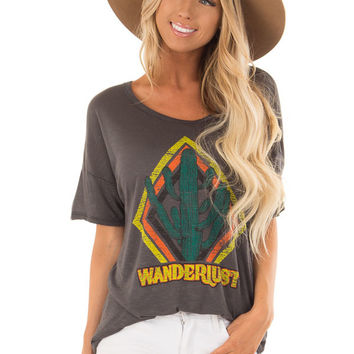 Charcoal 'Wanderlust' Graphic Print Top with Short Sleeves