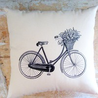 Bicycle Pillow, French Country Home.. on Luulla