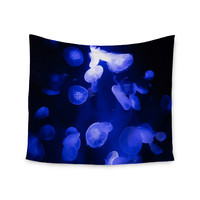 "Juan Paolo ""Jellyfish Blue"" Blue Black Wall Tapestry"