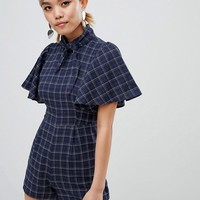Fashion Union Petite High Neck Playsuit In Check at asos.com
