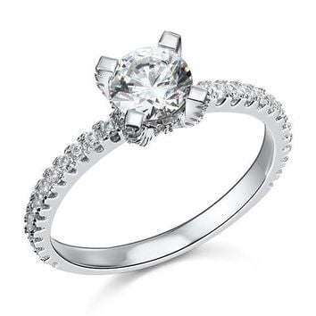 1 Carat Simulated Diamond Engagement Sterling 925 Silver Ring