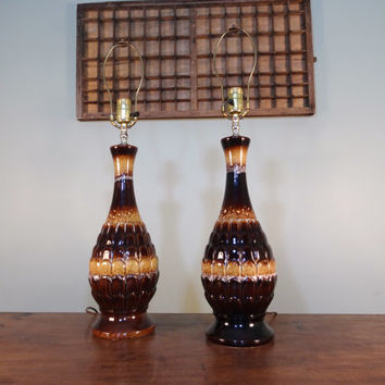 Set of Vintage Pottery Lamps, Retro Mid Century Modern Lighting, Table Lamps, Apartment Decor