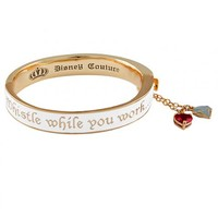 Gold Plated White Enamel Whistle While You Work Snow White Bangle From Disney Couture : TruffleShuffle.com