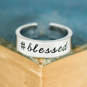 Hashtag Blessed Ring - Adjustable Aluminum Cuff Ring - Silver Ring - Religious Ring - Hand Stamped Ring
