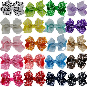 MyAmy 40pcs/lot 3.2'' quatrefoil grosgrain  ribbon boutique hair bows WITH alligator hair clips girls hairbow for teens