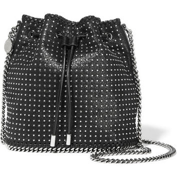 Stella McCartney - Falabella tiny studded faux brushed-leather shoulder bag