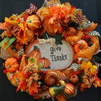 Give Thanks Fall Pumpkin Deco Mesh Wreath for Thanksgiving