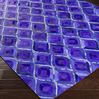 Houseman Area Rug | Purple Hides and Leather Rugs Hand Crafted | Style HSM4070