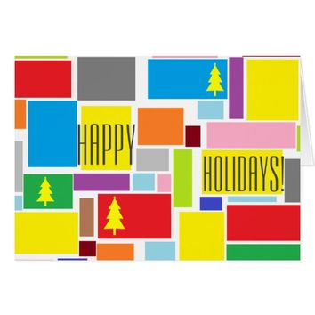 Positive Vibes Colorful Happy Holidays Card