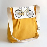 LA POMME // Bicycle Flap Large Dark Yellow French with by ikabags