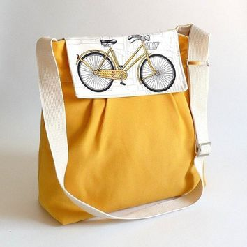 LA POMME //  Bicycle Flap Large Dark Yellow by ikabags on Etsy