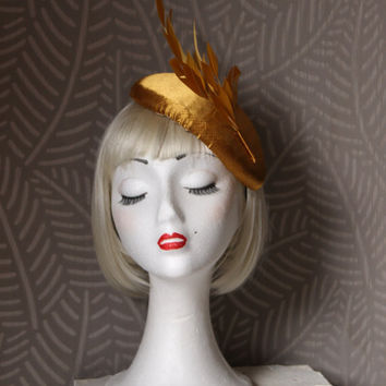 Gold fascinator hat, gold feathers hat, cocktail fascinator hat, formal hat, handmade satin in gold fascinator, exclusive desing fascinator