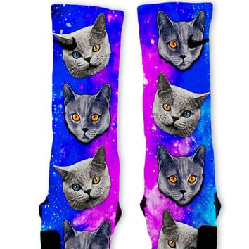 Evil Space Cats Custom Nike Elite Socks
