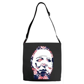 michael myers floral mask Adjustable Strap Totes
