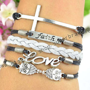 "Faith Bracelet, owl Bracelet, LOVE Bracelet, bracelets, cross Antique Silver Bracelet, ""women cuff Bracelet, friendship gift"