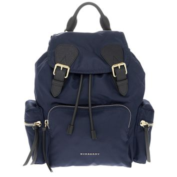 Burberry Women's The Medium Rucksack in Technical Nylon and Leather Ink Blue
