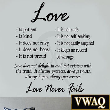 Love is patient love is kind wall art decor vinyl decal sayings religious bib...
