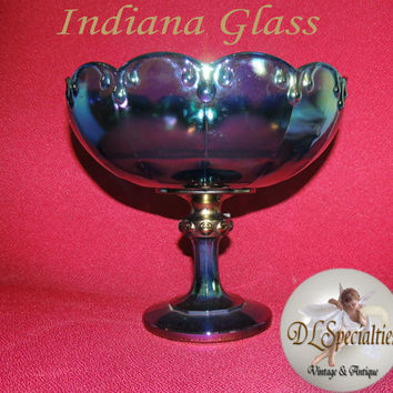 Vintage Indiana Glass Compote Compote Iridescent by DLSpecialties