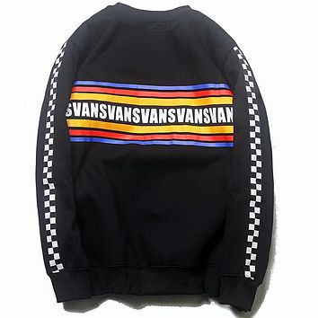 VANS new ribbon black and white chess rainbow striped print round neck sweater
