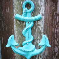 Nautical Anchor Wall Hook / Teal Blue Anchor / Nautical Nursery Wall Art / Hand Painted Cast Iron Wall Decor / Custom Coastal Home Decor/