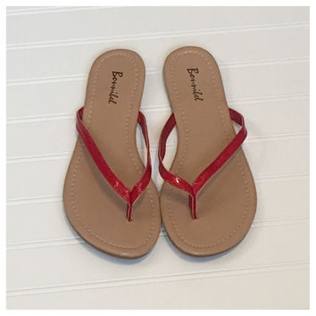 Forever Faithful Classic Strap Red Flip Flops, Sandals