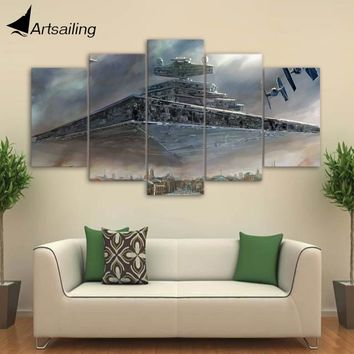 HD 5 piece canvas art printed Star Wars Painting livingroom wall art canvas poster picture Free shipping CU-3077C