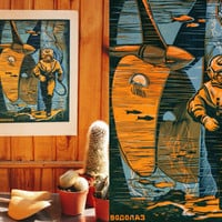 DIVER - Soviet Linocut Print / RARE Original USSR Vintage Colour Linocut Poster, Russian Text / Ukrainian Wall Art, Graphics