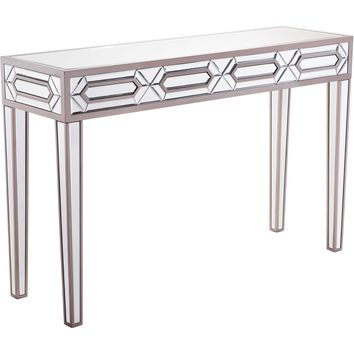 Gray Mirrored Hexa Console Table
