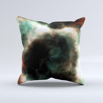 Dark Green Glowing Universe Ink-Fuzed Decorative Throw Pillow